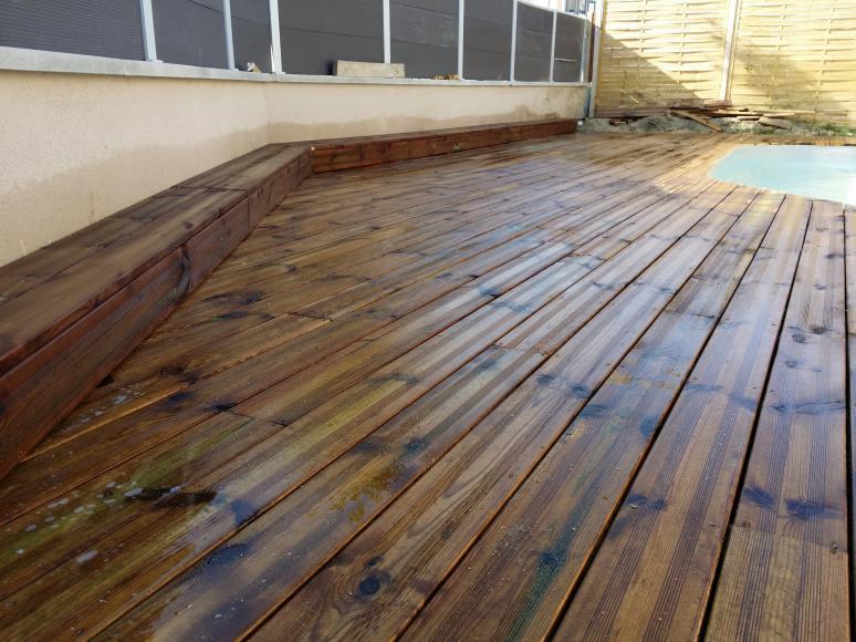 photos lames de terrasse bois prix pas cher traité